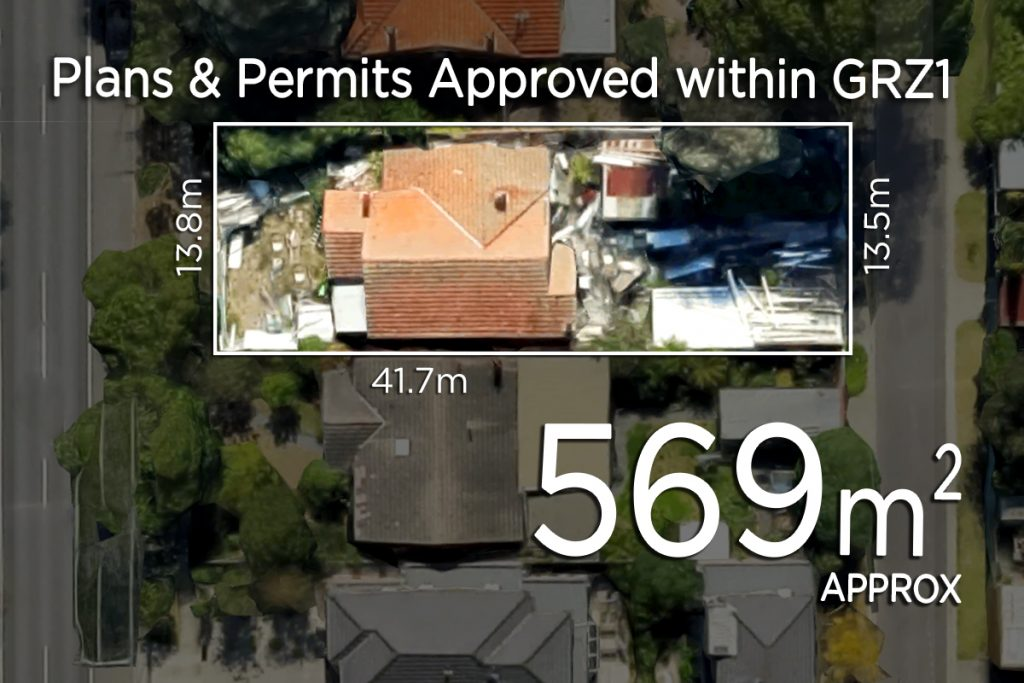 2 Street Frontages within GRZ1 - Plans & Permits Approved for 3 Townhouses!!!